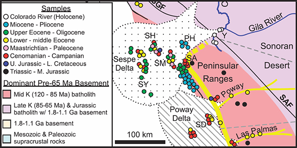 Detrital zircons indicate no drainage link between southern California rivers and the Colorado Plateau from mid-Cretaceous through Pliocene