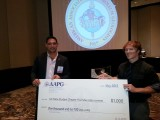 Trevor Swindell (right) accepting the award from our alumni Bryant Fulk (left) (AAPG Student Chapter Committee Chair)