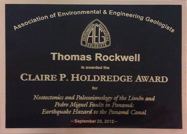 Tom Rockwell receives the Claire P. Holdredge Award!