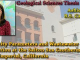 THESIS DEFENSE: May 8th @ 10:40am – Ashley Heath – Seismicity Parameters and Wastewater Correlation at the Salton Sea Geothermal Plant, Imperial, California