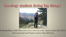 Geology student doing big things