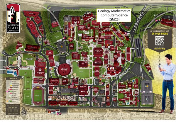 San Diego State University campus map highlighting the location of GMCS
