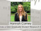 Hannah Carney receives GSA grant